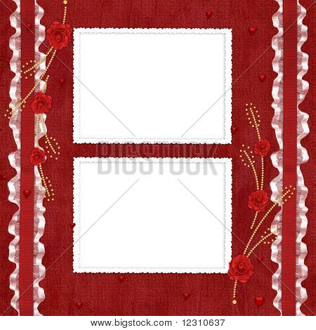 Valentines Day Card With Flower On The Abstract Blue Background