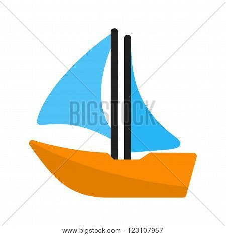 Sailboat icon vector image. Can also be used for sea. Suitable for use on web apps, mobile apps and print media.