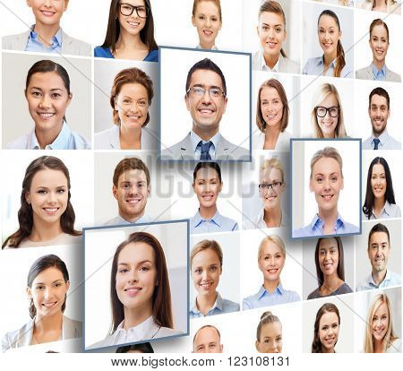 human resources, career management, recruitment and success concept - collage with many business people portraits