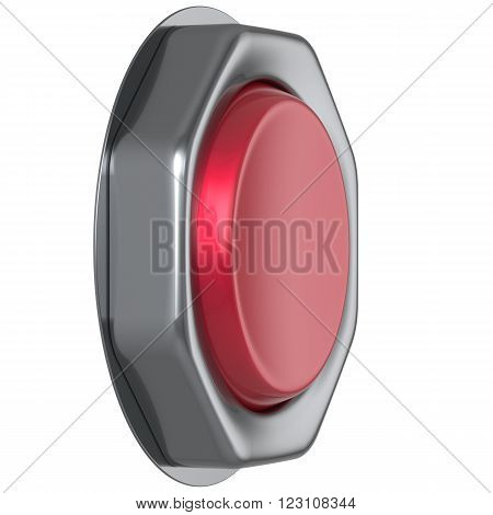 Button red start turn on off action military game panic push down activate ignition power switch electric design element metallic shiny blank led lamp. 3d render isolated
