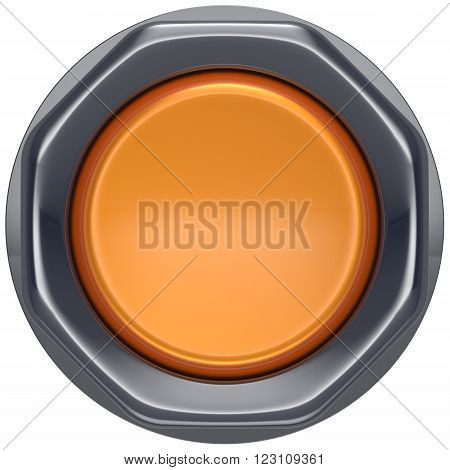 Button orange push down activate ignition power switch start turn off on action electric design element metallic shiny blank yellow. 3d render isolated