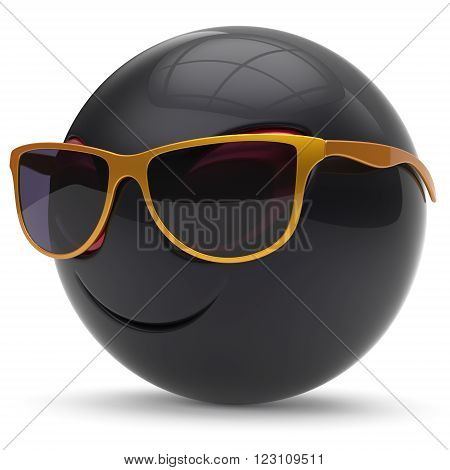 Alien smiley head emoticon face sunglasses cartoon cute monster ball black golden avatar. Cheerful funny smile invader person character toy laughing eyes joy icon concept. 3d render isolated
