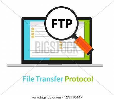 FTP file transfer protocol computer icon symbol illustration vector