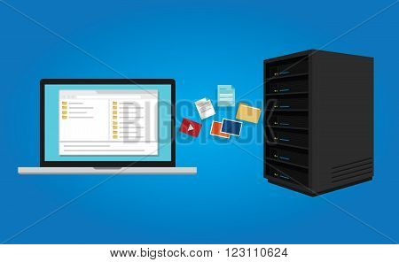 FTP file transfer protocol copy document data from computer laptop to server icon symbol illustration vector