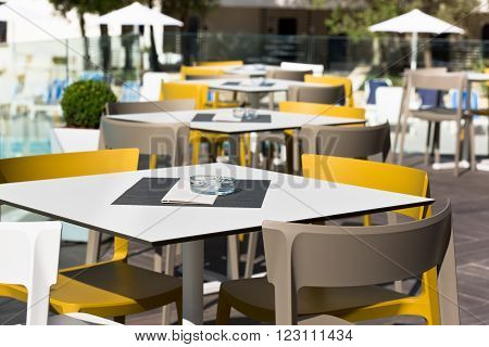 Summer Cafe With Plastic Furniture