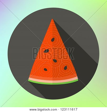 Big watermelon slice cut with seed Flat design icon. Watermelon. Healthy food. Vector illustration. Flat design. flat icon of slice of watermelon. Slice watermelon flat style. Vector icon flat style.