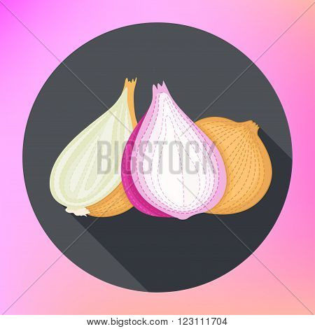Onion. Flat. Isolated vegetables. Onion in flat style. Onion vector logo. Onion icon. red and yellow onion, vegetables vector illustration. onion icon, flat design