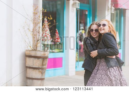 Best Friends Smiling And Having Fun Outside