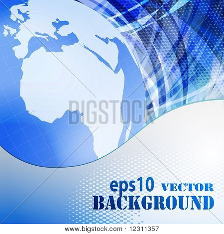 Abstract Blue Business Background With Globe
