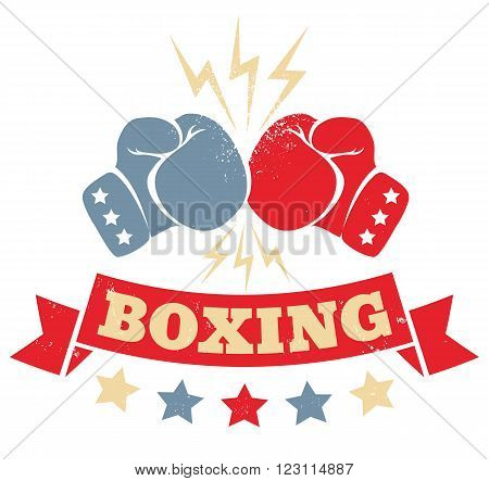 Vector vintage logo for a boxing with two lives