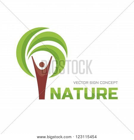 Nature - vector logo concept illustration. Human tree logo sign icon. Ecology vector logo sign. Eco logo sign. People logo. Human and leaves logo sign. Vector logo template. Design element.