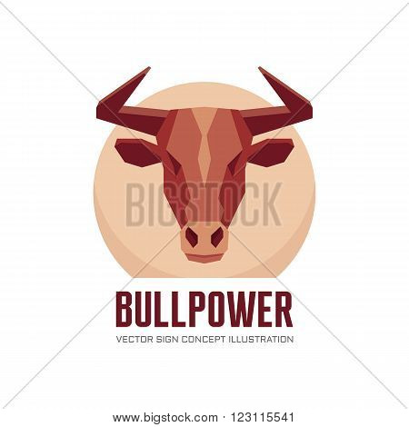 Bull head - vector logo concept illustration. Buffalo head logo. Bull head logo. Taurus head logo. Power logo sign. Animal logo sign. Vector logo template. Design element.