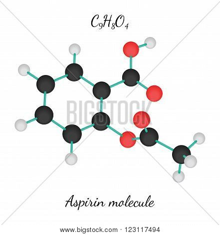 C9H8O4 aspirin 3d molecule isolated on white
