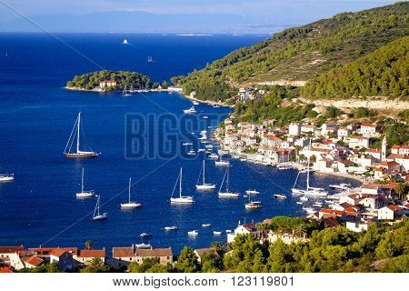 Island of Vis yachting bay aerial view Dalmatia Croatia