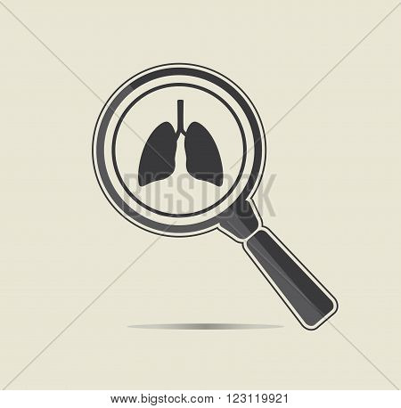 Lungs examination illustration. Medical testing concept. Flat vector icon.