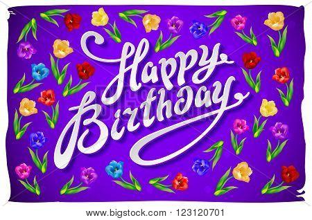 Violet Greeting Card Happy Birthday.  Illustration Vector Tulip