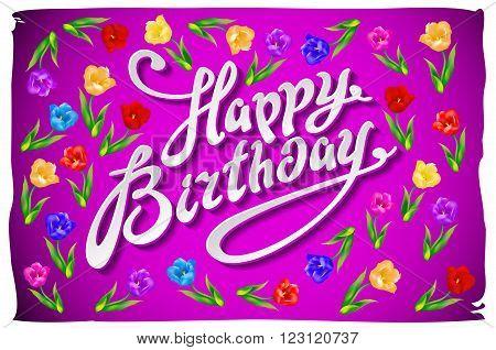 Birthday Template Vector/illustration. Violet Greeting Card Happy Birthday.  Illustration Vector Tul