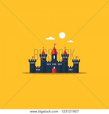 Fabulous fairy castle, fort, flat design illustration
