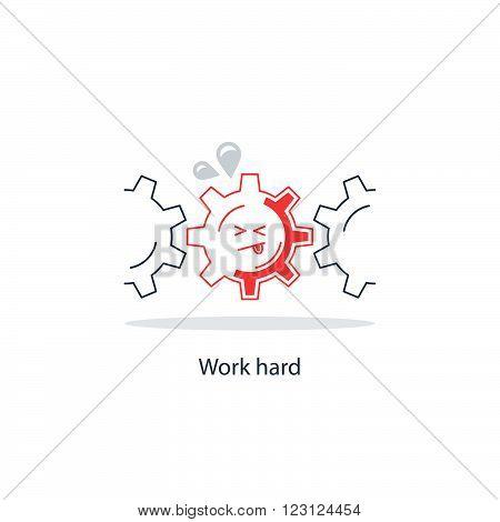 Hard work fancy concept, linear design illustration