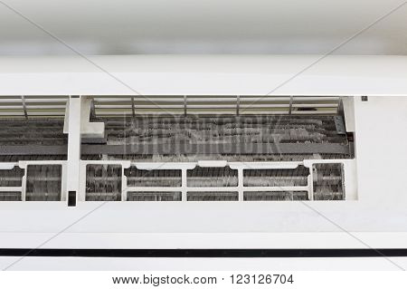 Cooling coil inside of air conditioner machine.