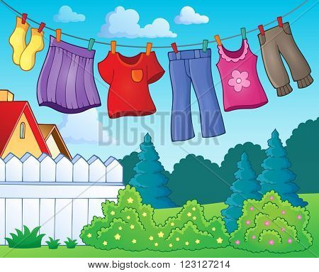 Clothes on clothing line theme image 1 - eps10 vector illustration.