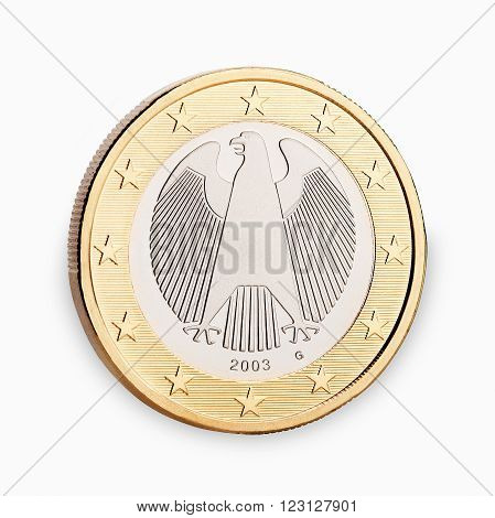 one euro coin backside isolated on white background