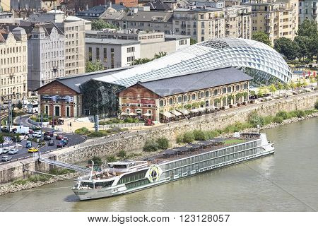 BUDAPEST, HUNGARY, JULY 10,2015: Exterior aerial view of Balna Culture And Shopping Center, connects downtown and inner Ferencvaros, the tourist zone and the gastro-zone.