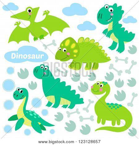 Dinosaur set vector illustration. Dinosaur vector design