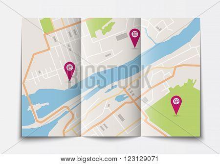 Vector flat paper city map lying open, top view