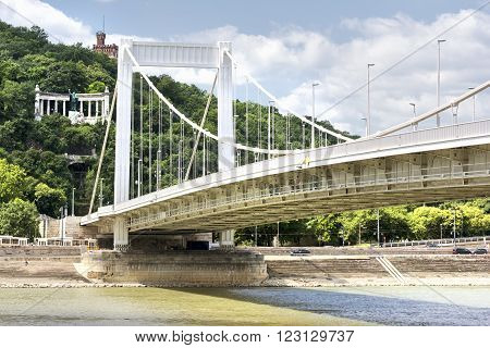 Erzsebet Bridge With Danube River, Budapest, Hungary