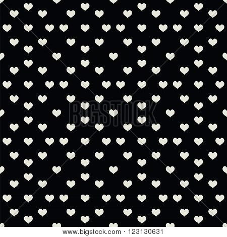 black seamless pattern with many  beige  heart. vector