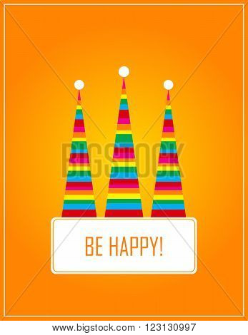 orange card with three  hat of gnome. vector. flat