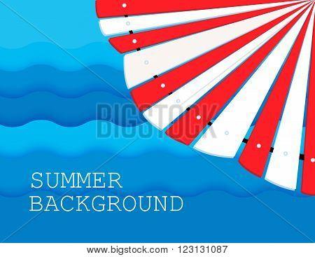 summer background with  umbrella  sea or ocean. flat. vector