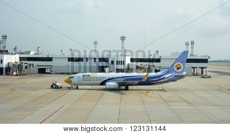 Bangkok, Thailand - March 7 , 2016: Hs-dbn Nok Air Boeing 737-800 Landing To Don Mueang Internationa