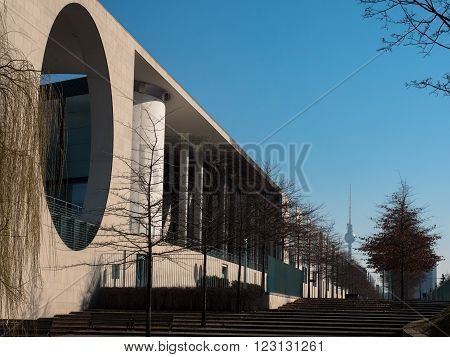 Federal Chancellery in Berlin Germany side view