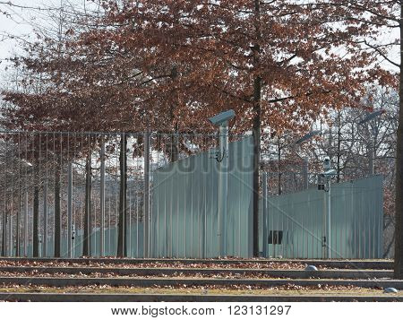 Metal fence around private property with video observation