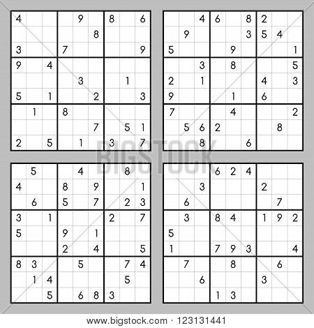 Vector set of sudoku. Puzzles with numbers