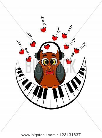 owl with headphones and with an abstract piano as a month. vector