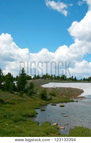 Bear Tooth Pass snow melt in Wyoming USA