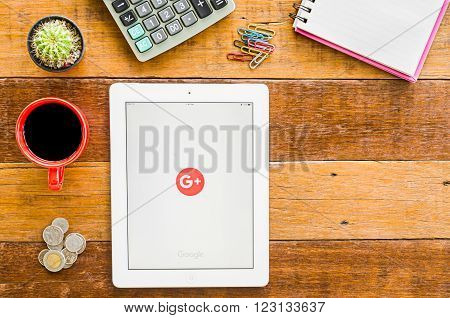 CHIANGMAI, THAILAND -JANUARY 10, 2016: IPad 4 open google+ application. Google+ is Google's social network service to compete with Facebook and launched in late June 2011.