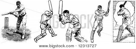 Five vintage cricket images - batsmen