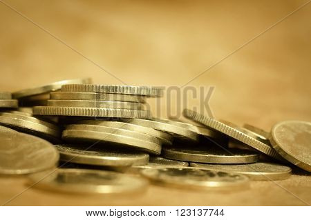 Gold money coins - lending wealth money concept