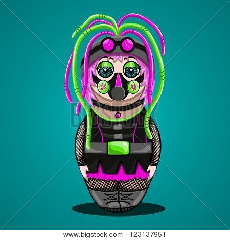 Vector cartoon girl cyber goth in the form of nested doll. Illustration subcultures.