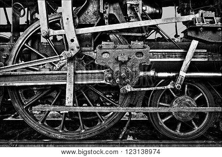 power of the steam machines - locomotive wheel