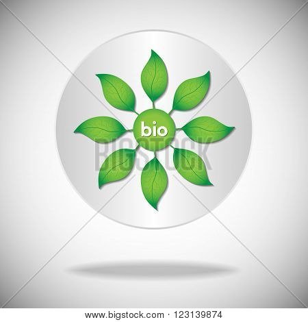 Bio icon or logo. Green leaves on a tree with bio text on a white circle background.