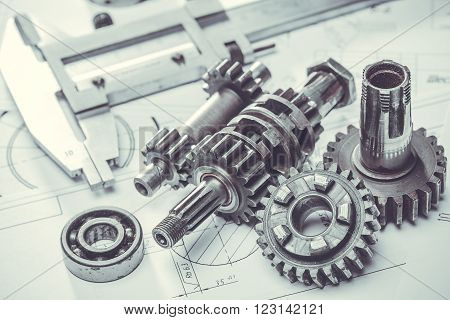 steel metal gears on the engineering drawings