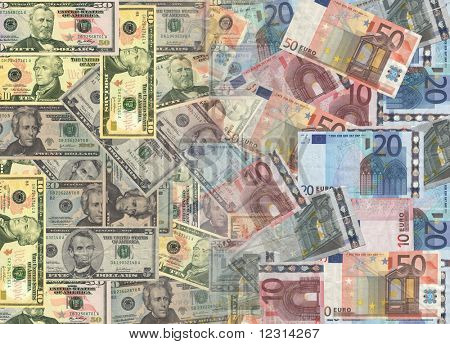 American and euros currency background illustration