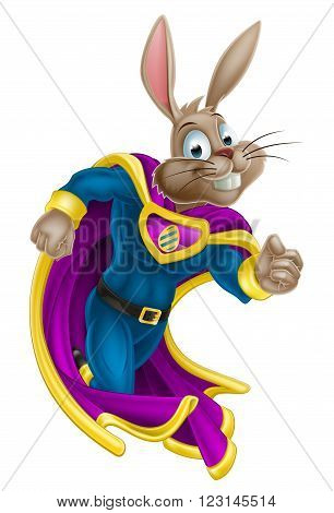 A cute cartoon superhero Easter Bunny character running