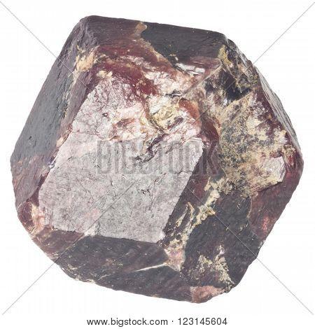 Rough garnet crystall macro isolated on white