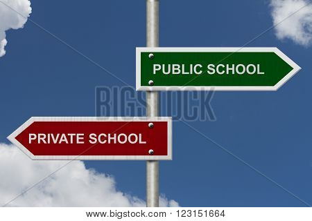 Public School versus Private School concept Red and Green street signs with blue sky with words Public School versus Private School